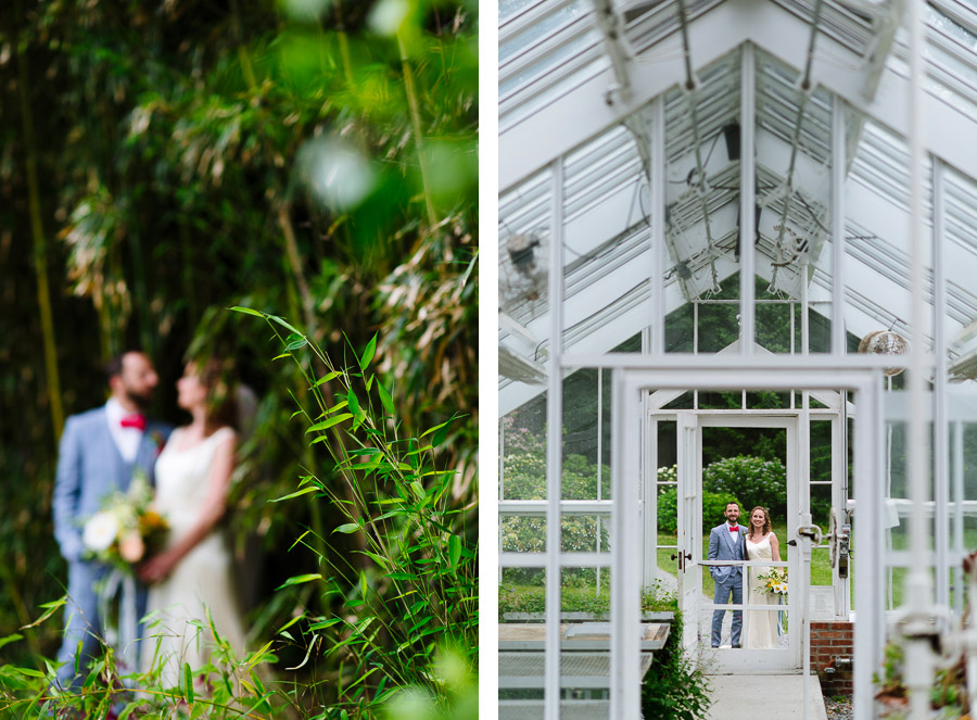 wedding portraits at blithewold mansion's greenhouse