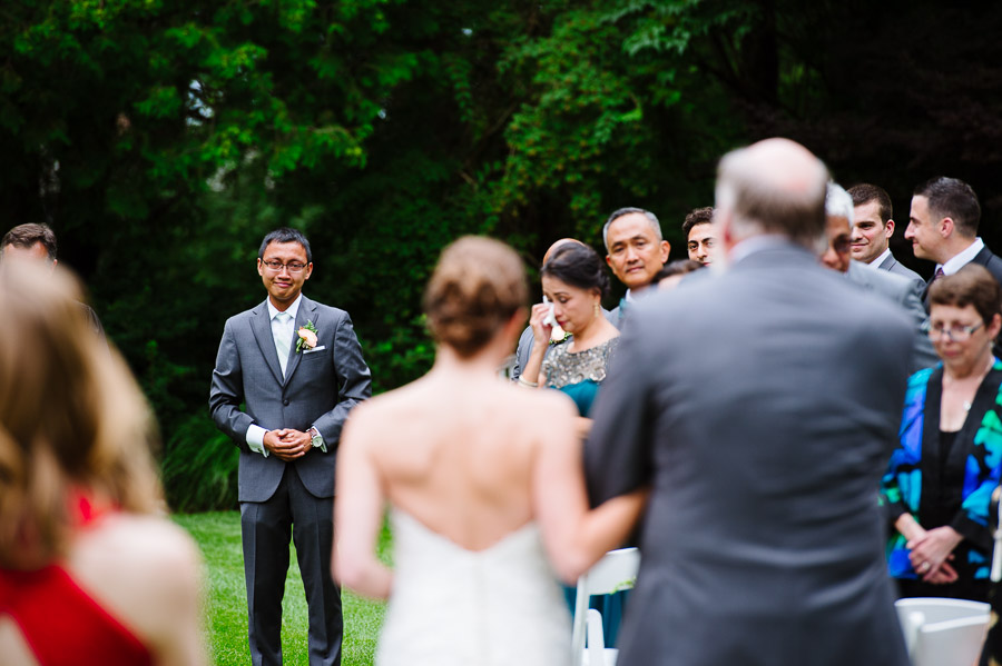 Emotional groom sees his bride for the first time, at The Connors Center