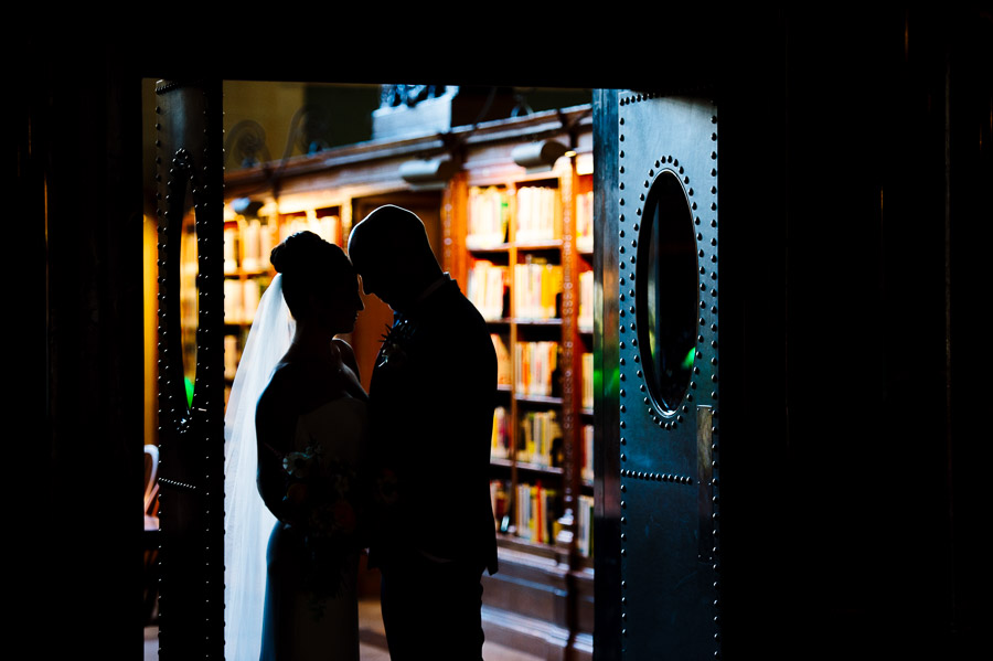 silhouette of a bride and groom at the Boston Public Library