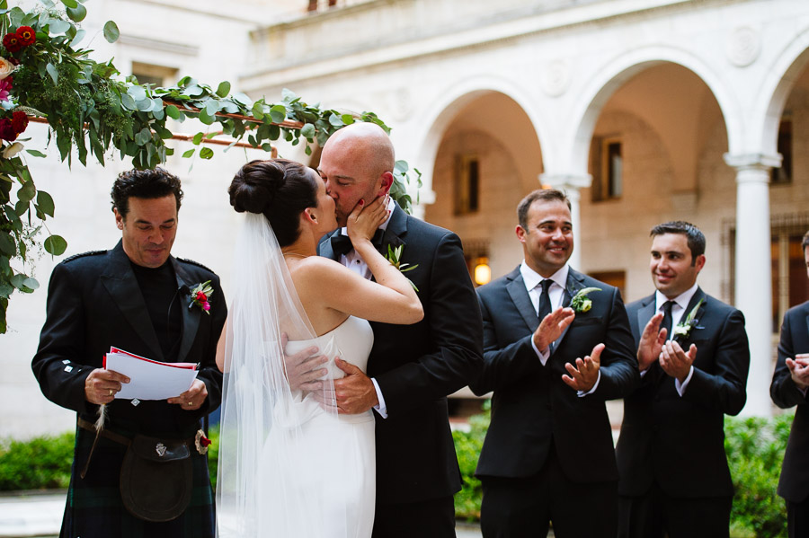 wedding ceremony in the Boston Public Library courtyard