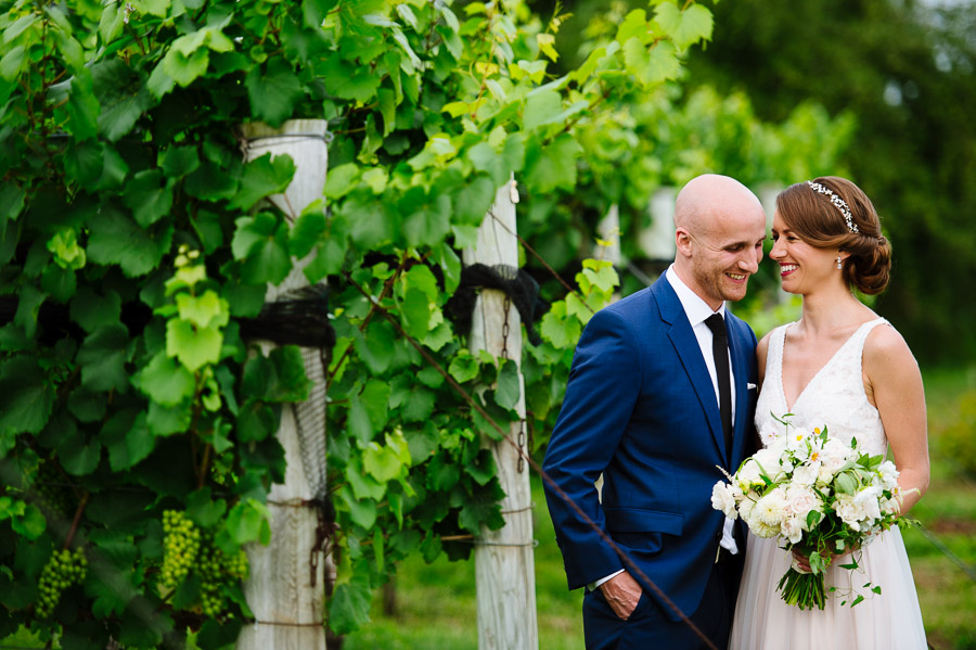 portrait of a bride and groom at Jonathan Edwards Winery