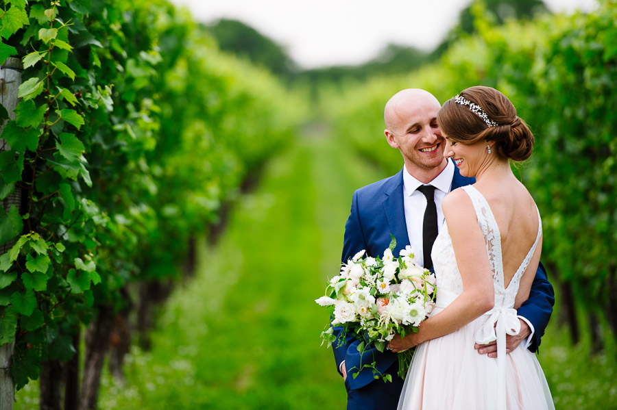 Portrait of a bride and groom in a vineyard