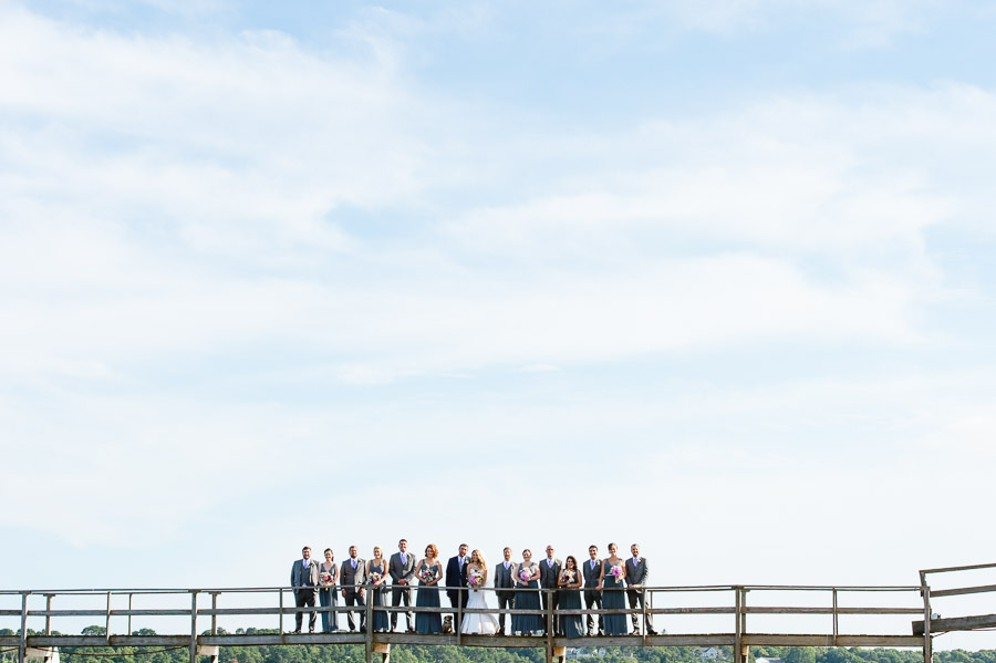 a portrait of the wedding party on Cape Cod