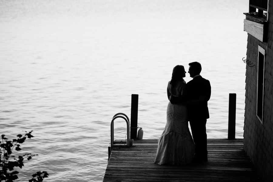 silhouette of a couple at laughing loon