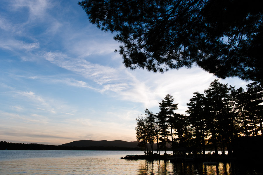 lake winnipesaukee at sunset
