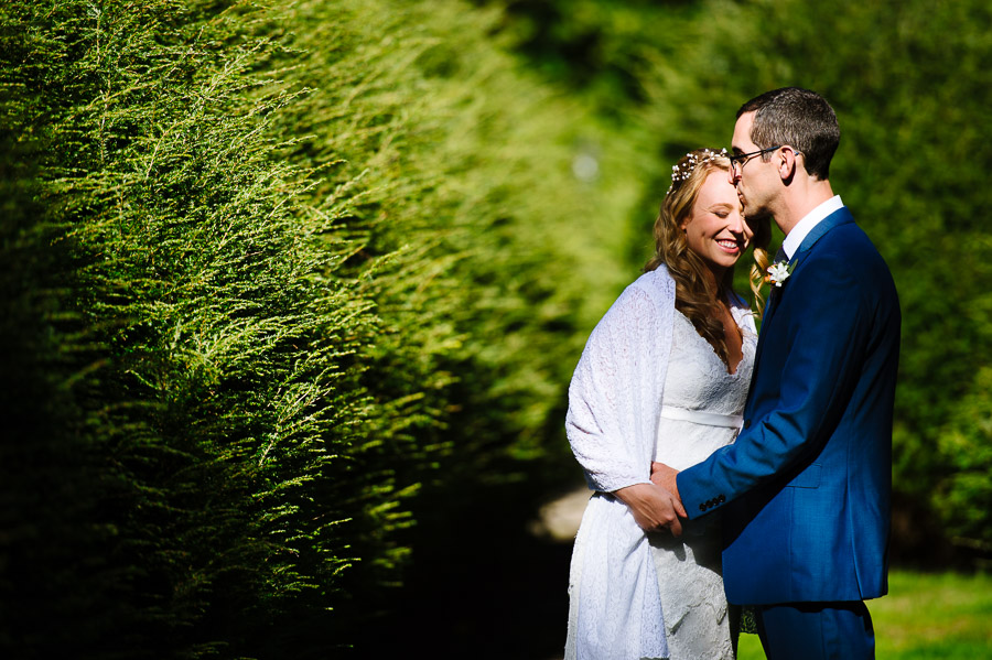 portrait of a bride and groom at Tanglewood