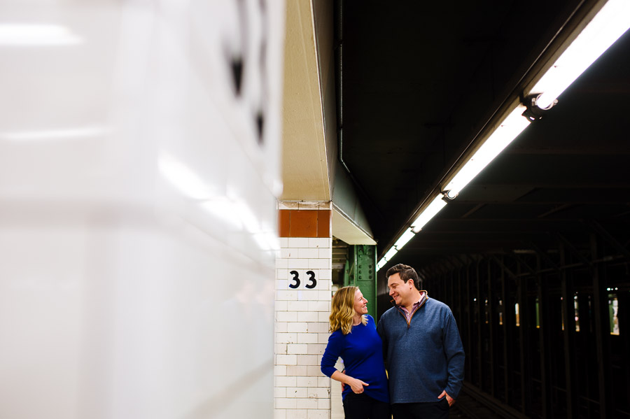 NYC subway station engagement portrait