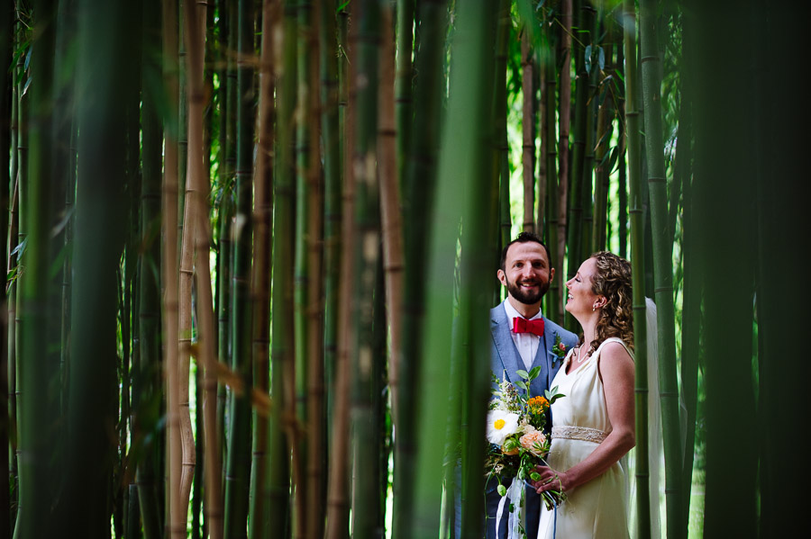 portrait of a bride and groom in the bamboo groves of Blithewold