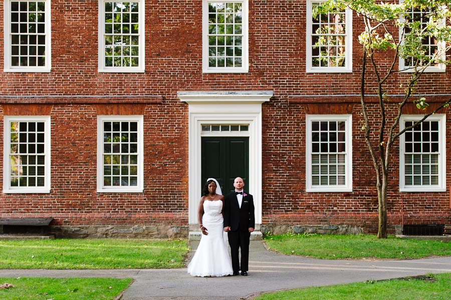 portrait of a bride and groom in Harvard Yard