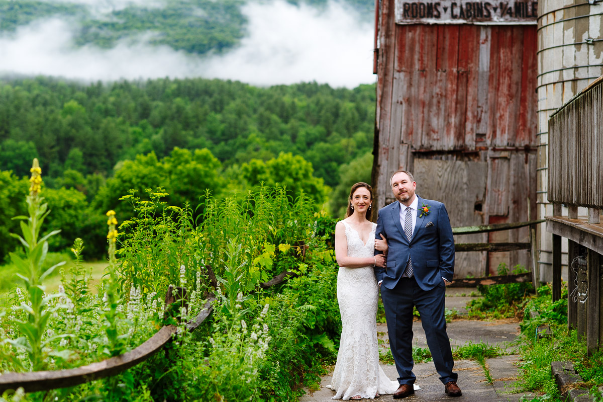 Portrait of a Bride and Groom at Hill Farm Inn Vermont