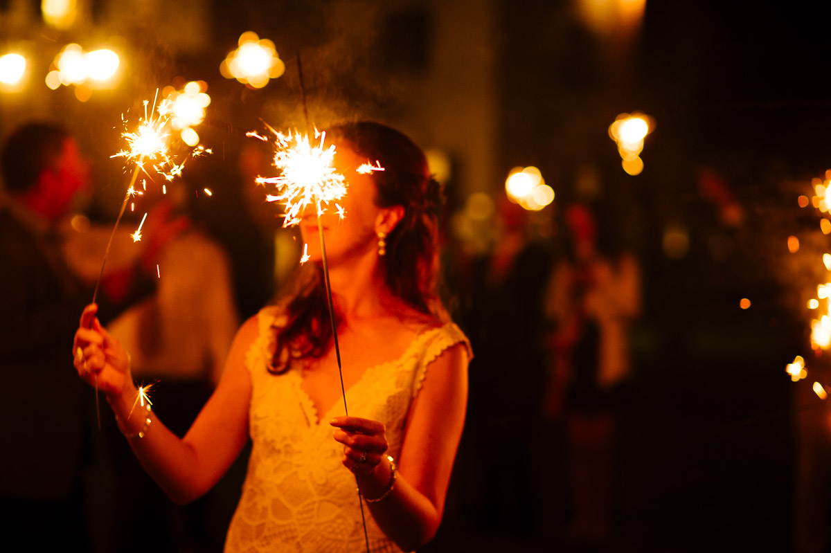 Bride with sparklers