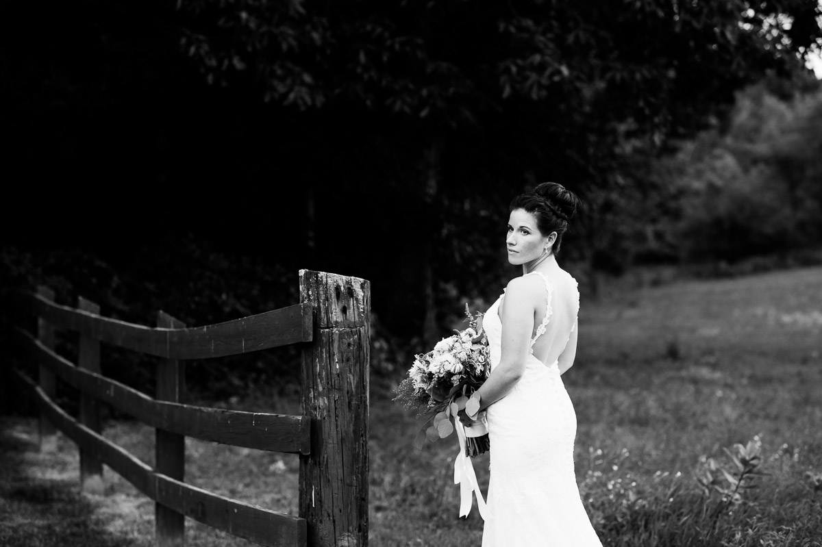 Black and white bridal portrait at Zukas Hilltop Barn
