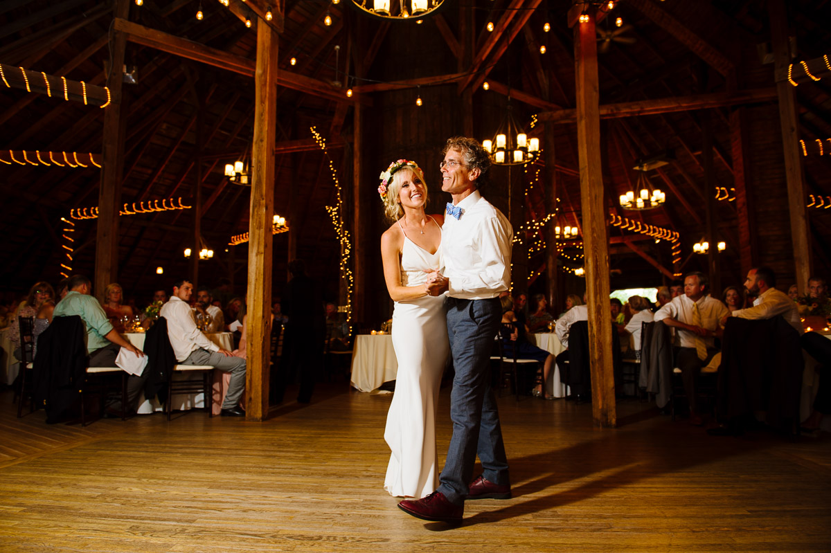 Father/Daughter dance in a Vermont barn
