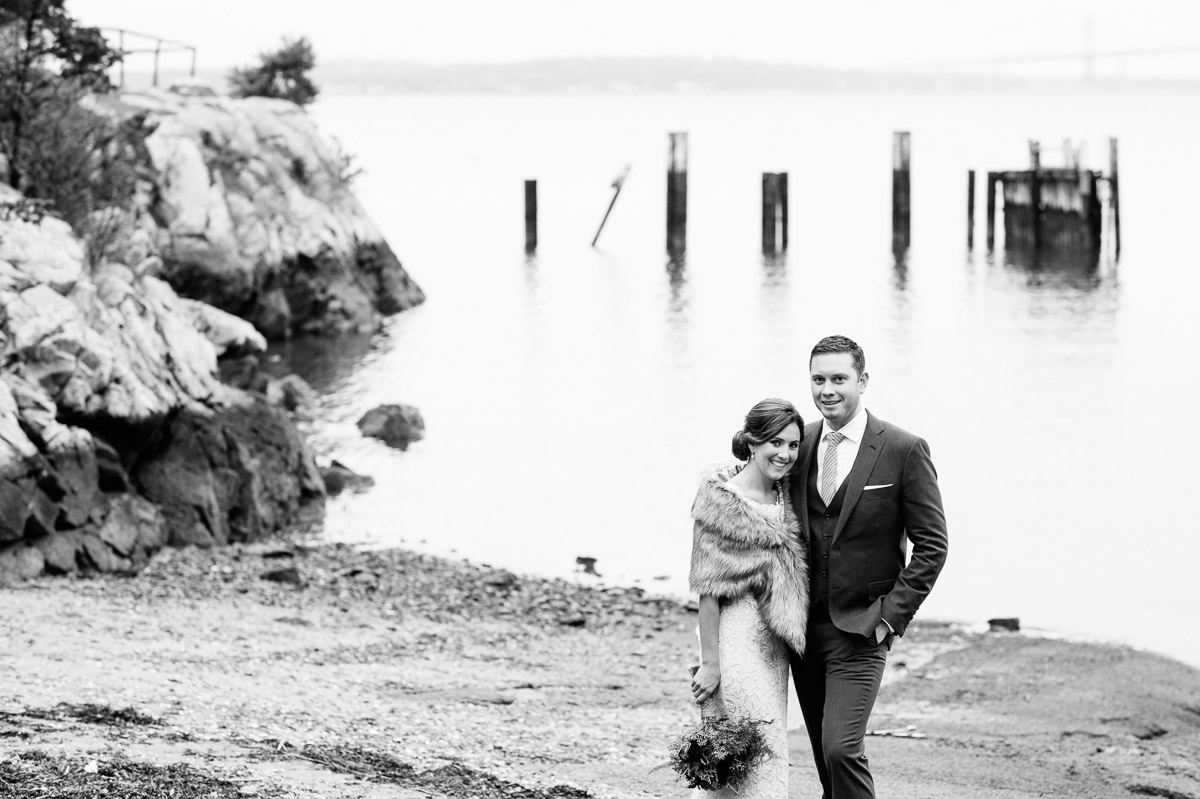Bride and Groom at Mount Hope Bay