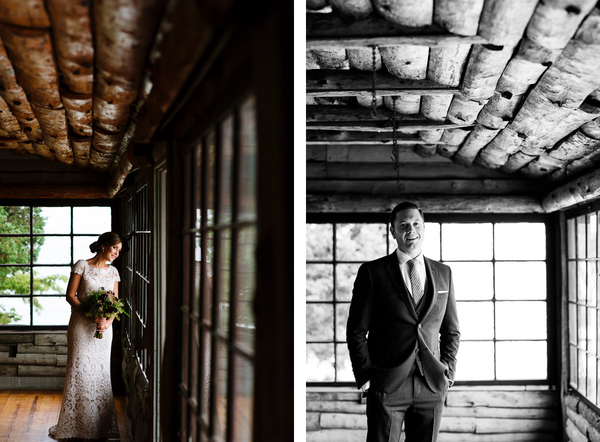 Bridal portrait in the Cove Cabin at Mount Hope Farm