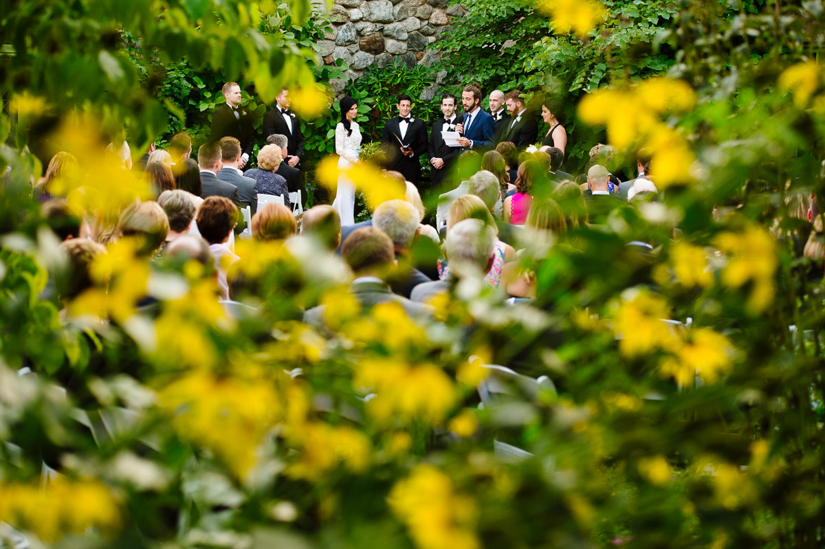 Ceremony through the flowers of Willowdale Estate