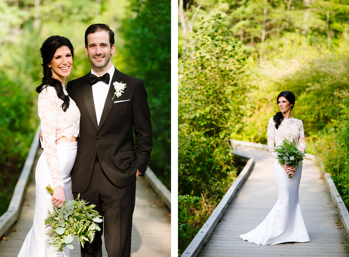 Bridal portrait on the boardwalk of Willowdale Estate