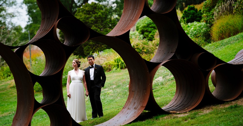 Portrait of a Bride and Groom at deCordova Sculpture Park Museum.