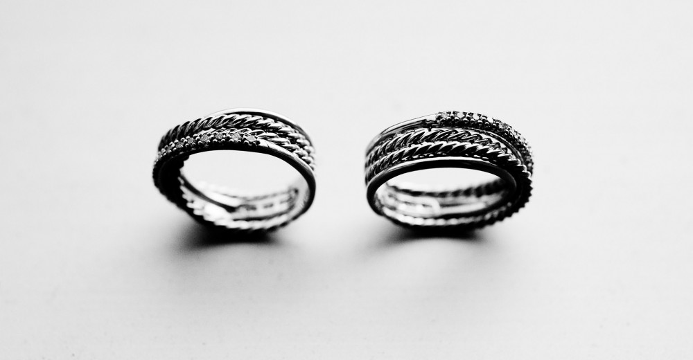 Same-sex couple wedding bands.