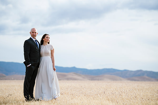 Portrait of a Bride and Groom on their Califorina ranch.