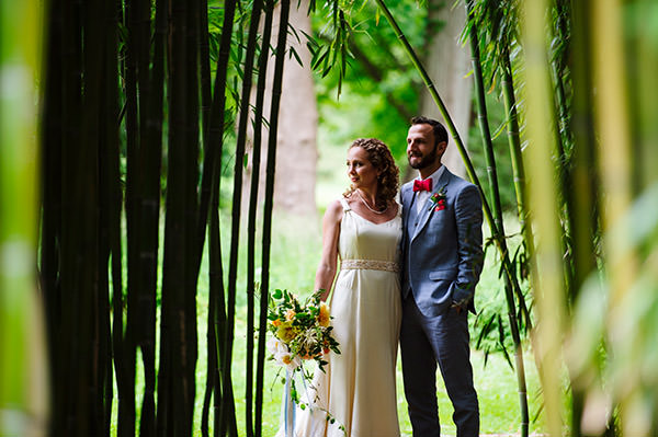 Wedding portrait in the bamboo garden at Blithewold Mansion