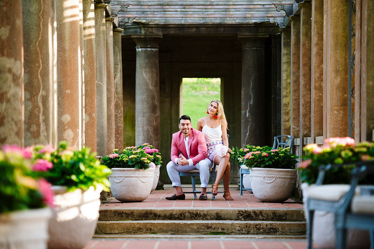 Engagement session in the Italian Garden at the Crane Estate