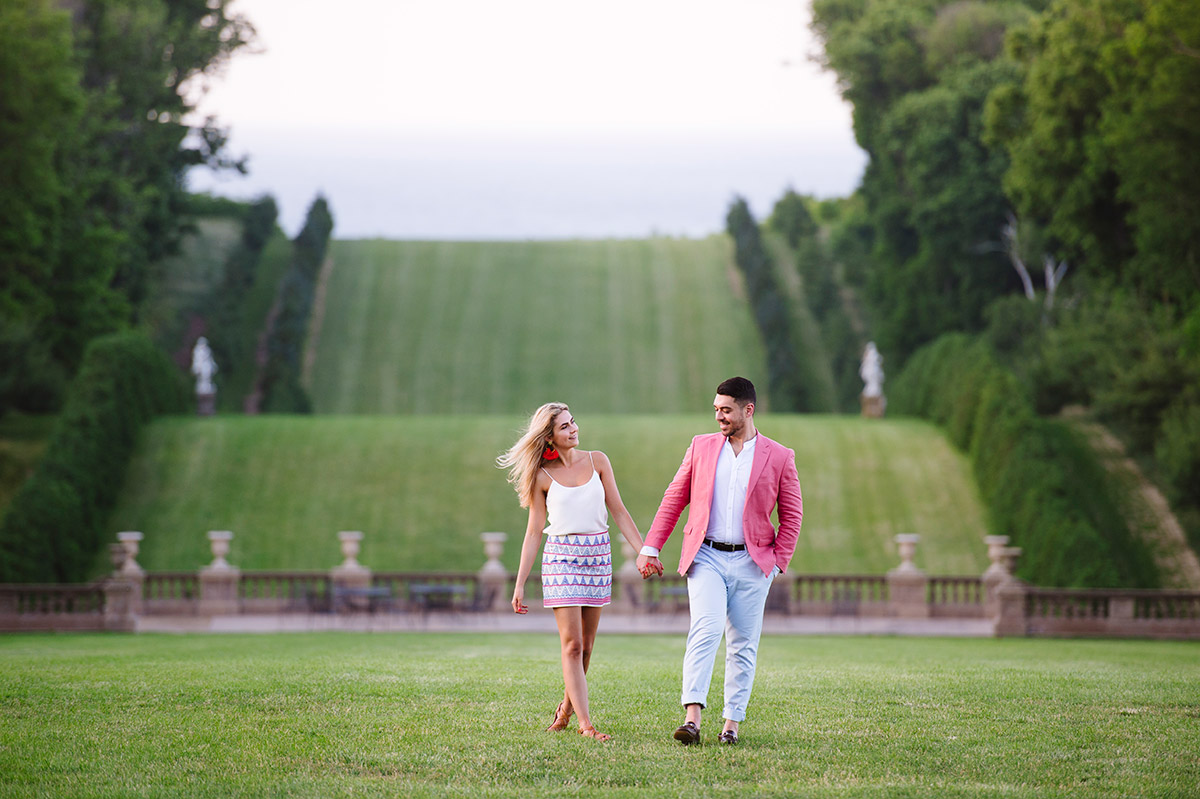 Rolling hills Crane Estate engagement session