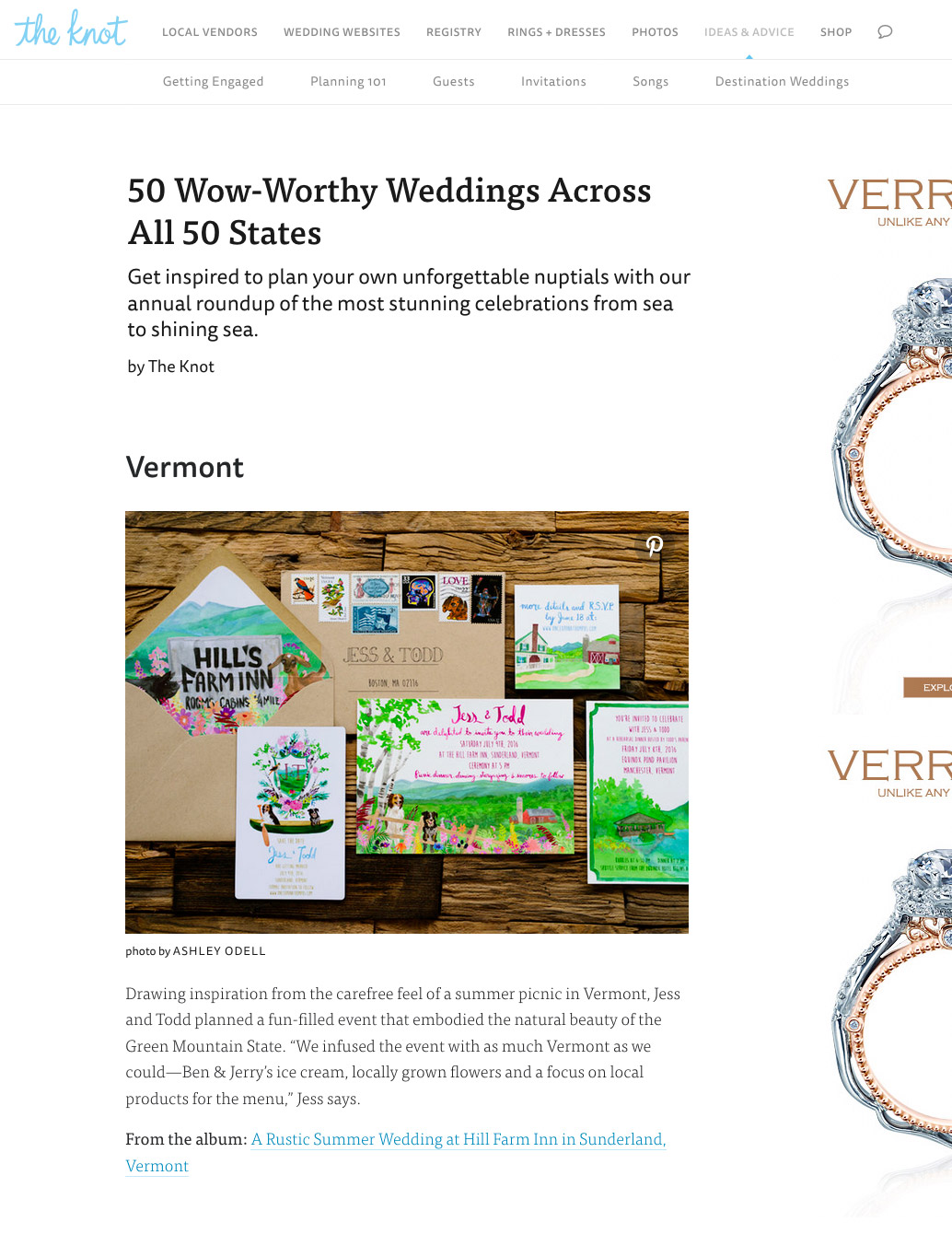 The Knot's 50 Weddings 50 States Vermont Feature
