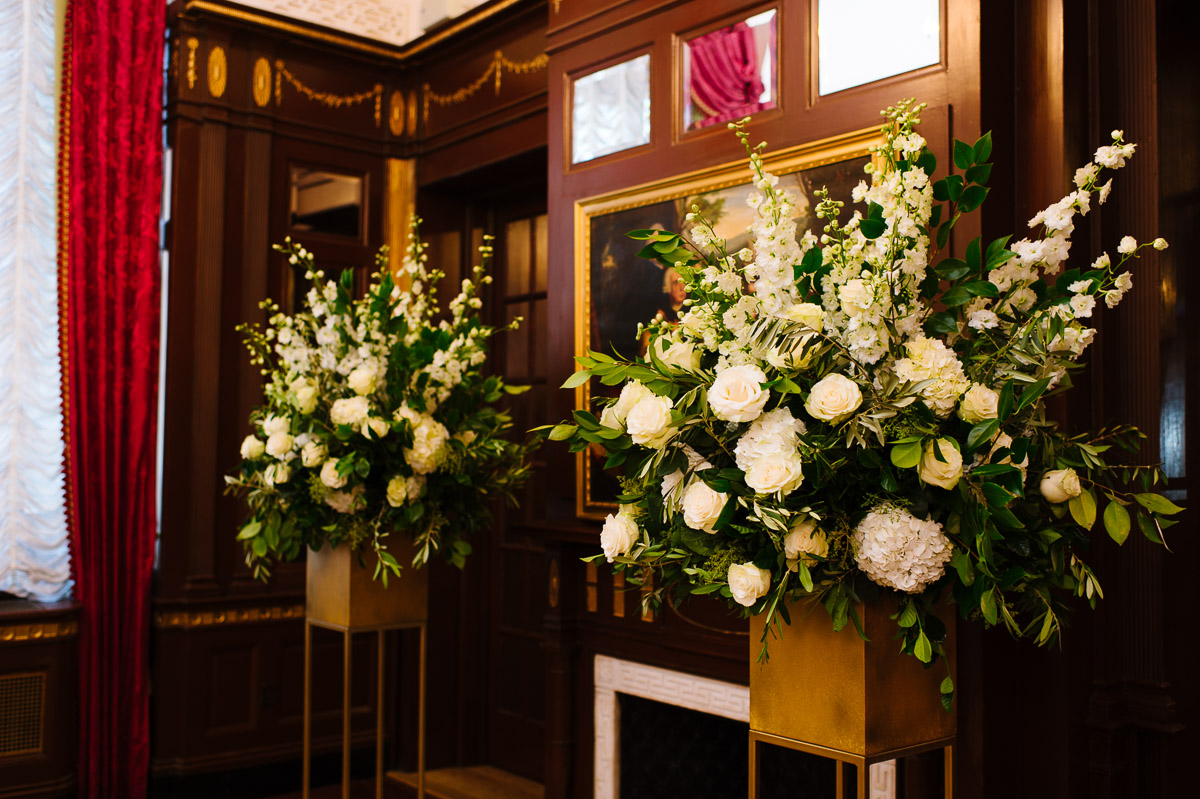 Winston wedding ceremony floral arrangements at the Fairmont Copley Plaza