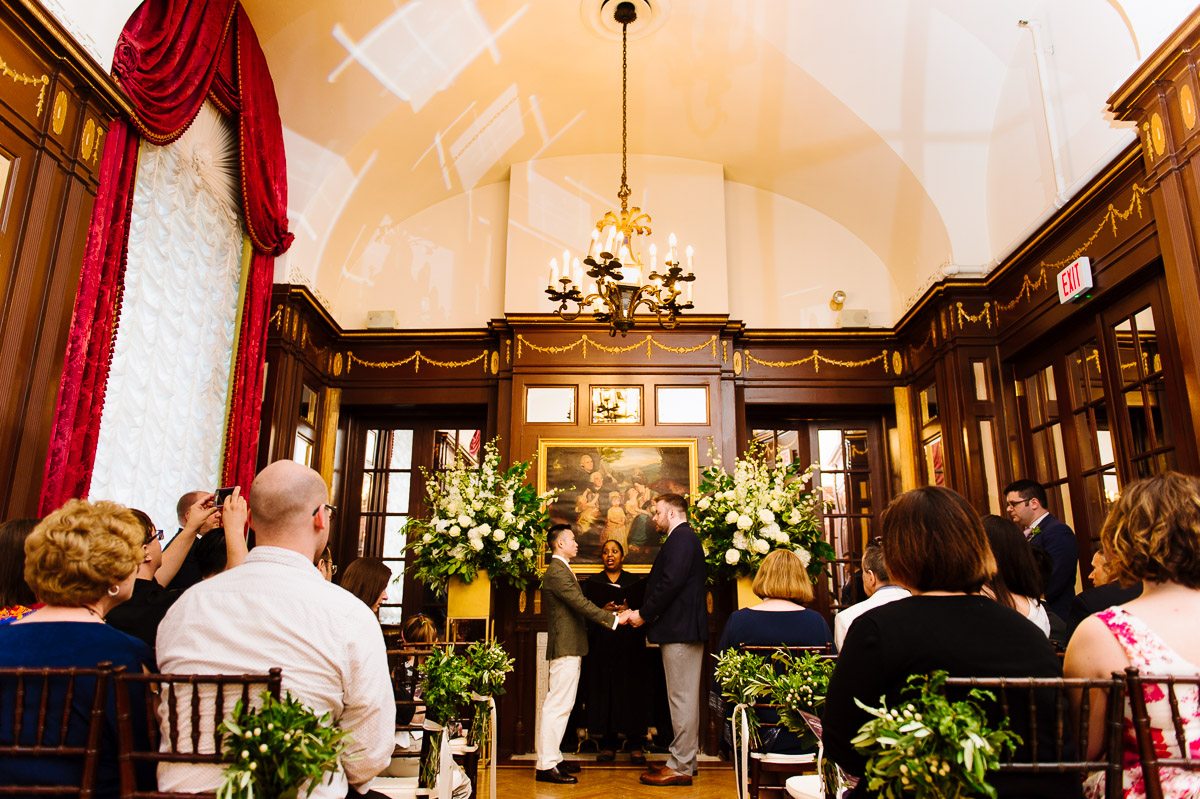Same sex wedding ceremony in the Singleton Room at the Fairmont Copley Plaza