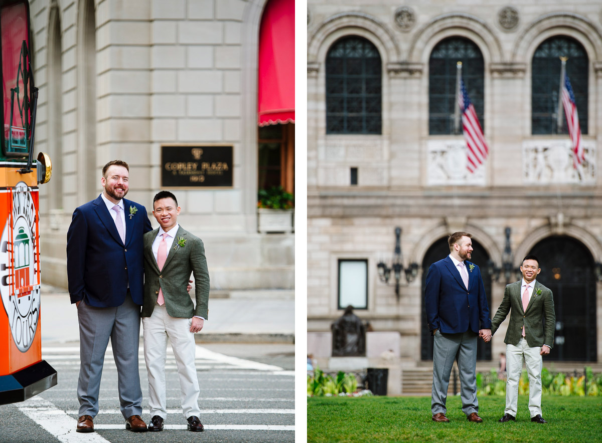 Wedding day portraits of two grooms in Boston
