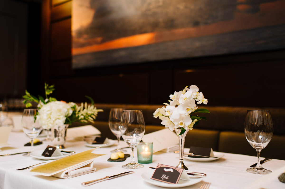 Private event room at L'Espalier for a wedding reception