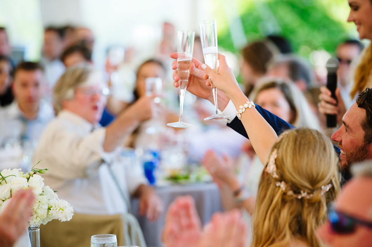 Wedding day toasts on Cape Cod