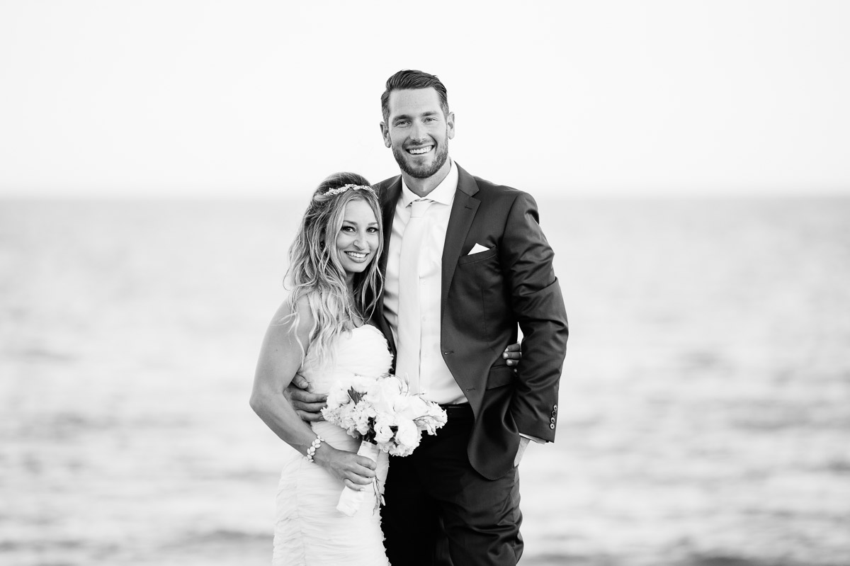 Black and white portrait of a Bride and Groom at the Pelham House Resort