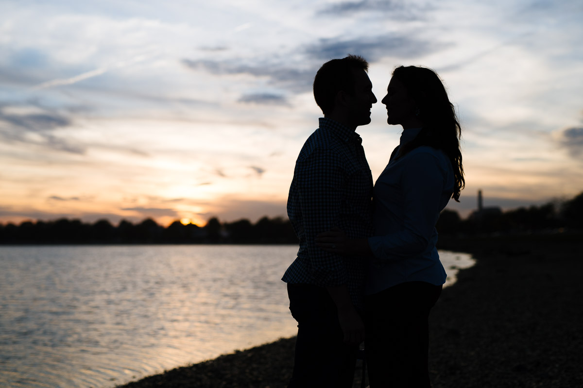 Castle Island sunset engagement session