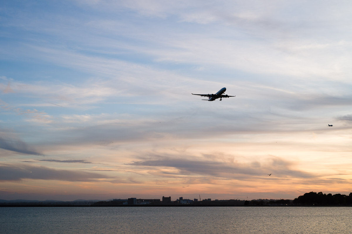 Plane landing at Logan Airport