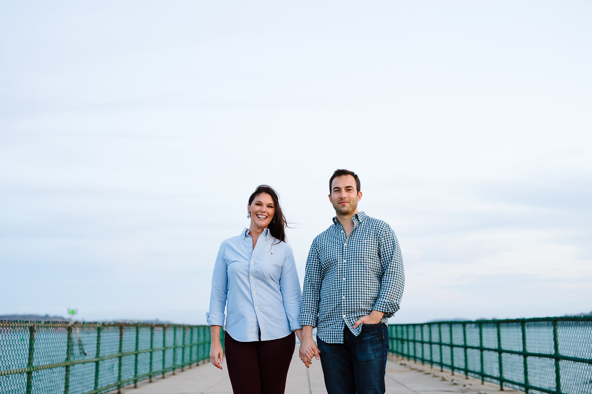 Castle Island pier engagement portrait of a couple
