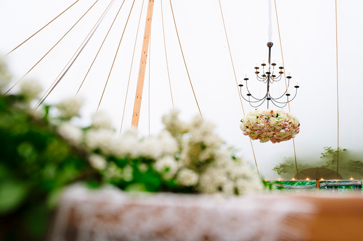 Wedding reception floral chandeliers