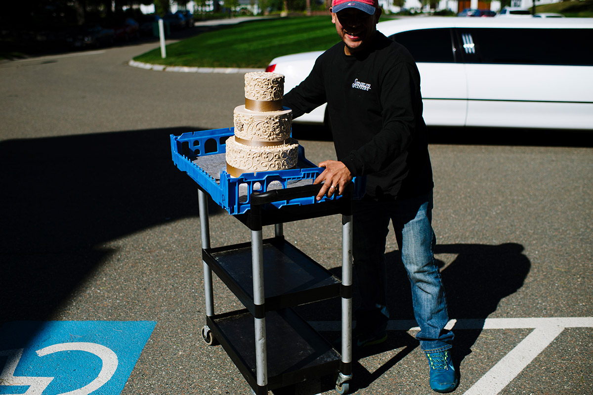 Caterer delivers wedding cake