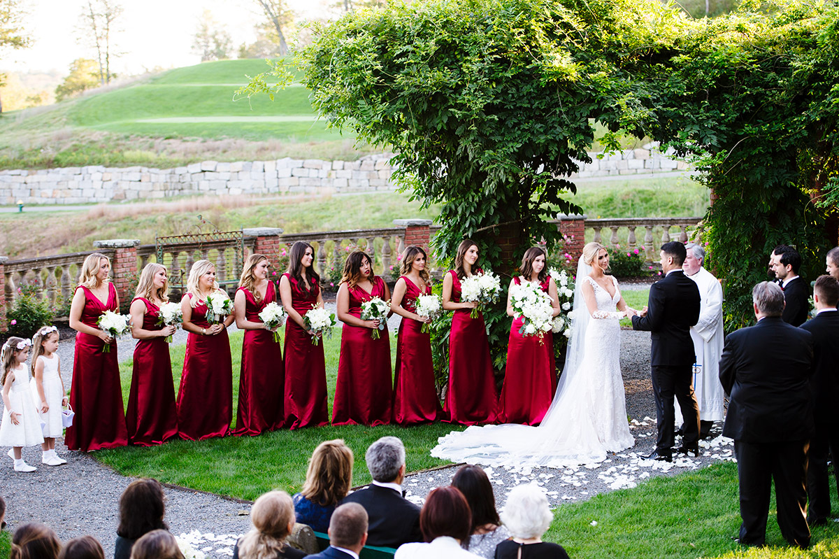 Outdoor wedding ceremony at The Mansion on Turner Hill