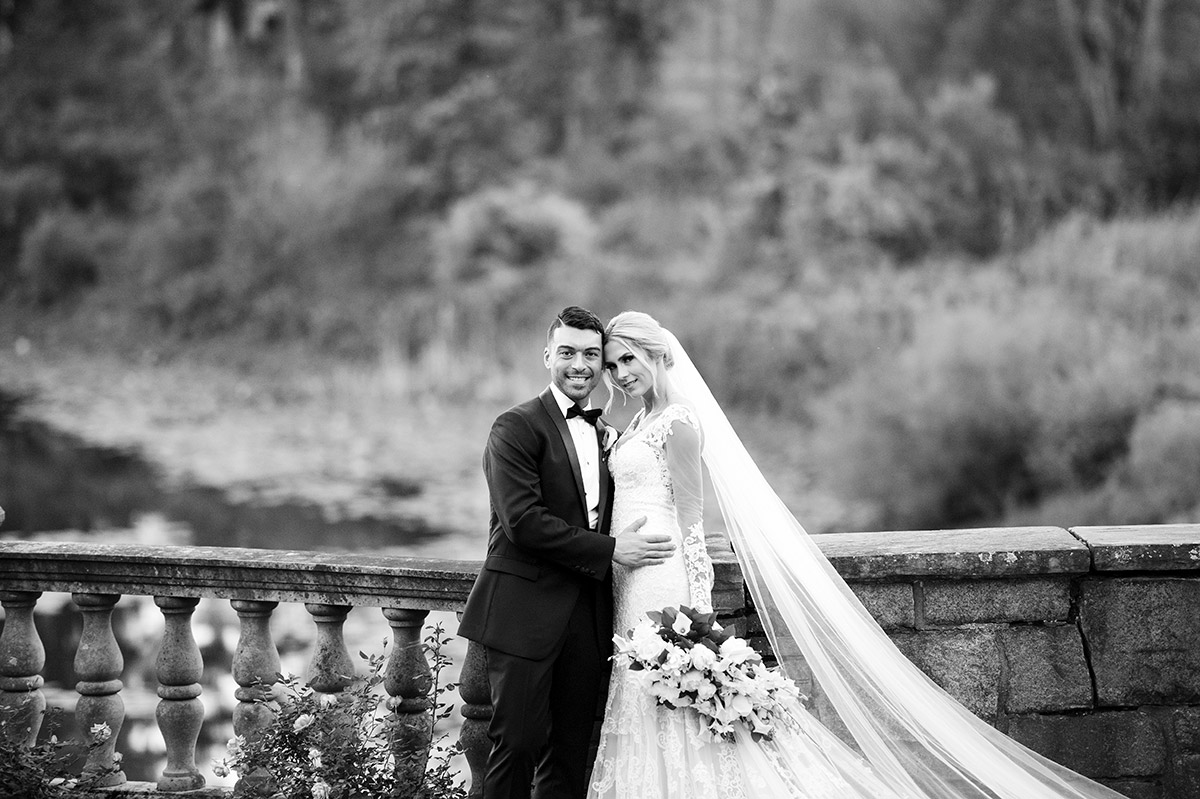Black and white wedding day portrait