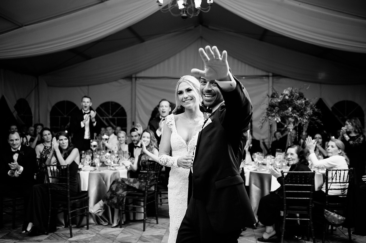 Bride and Groom introduced into their dinner reception