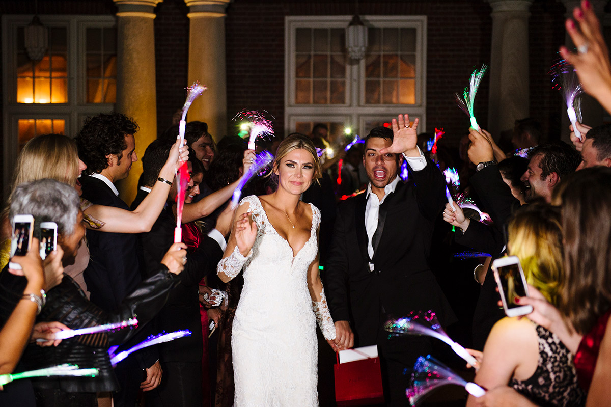 Wedding day exit with glow sticks