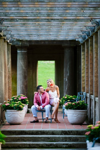 Italian garden engagement session Crane Estate
