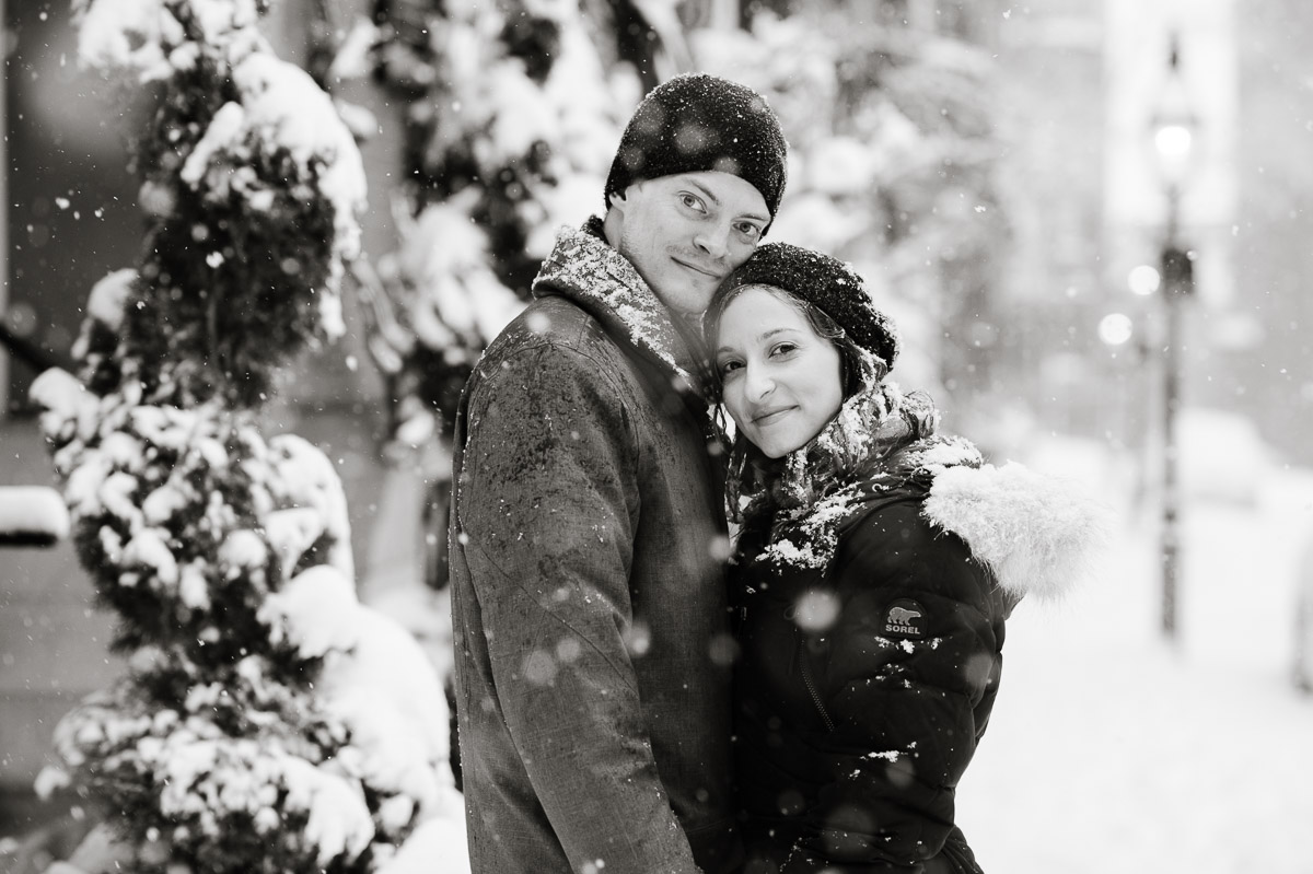 Winter engagement session portrait