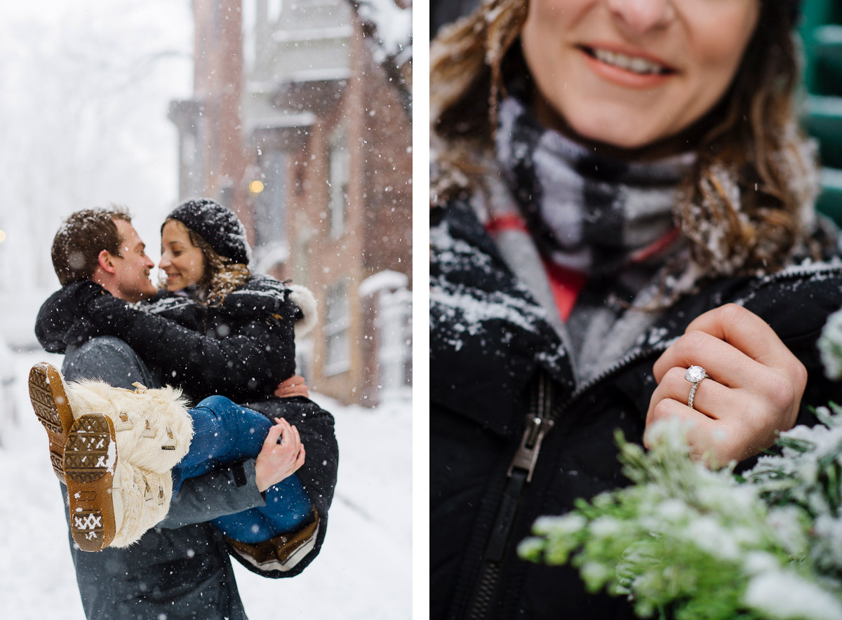 Winter engagement session Beacon Hill