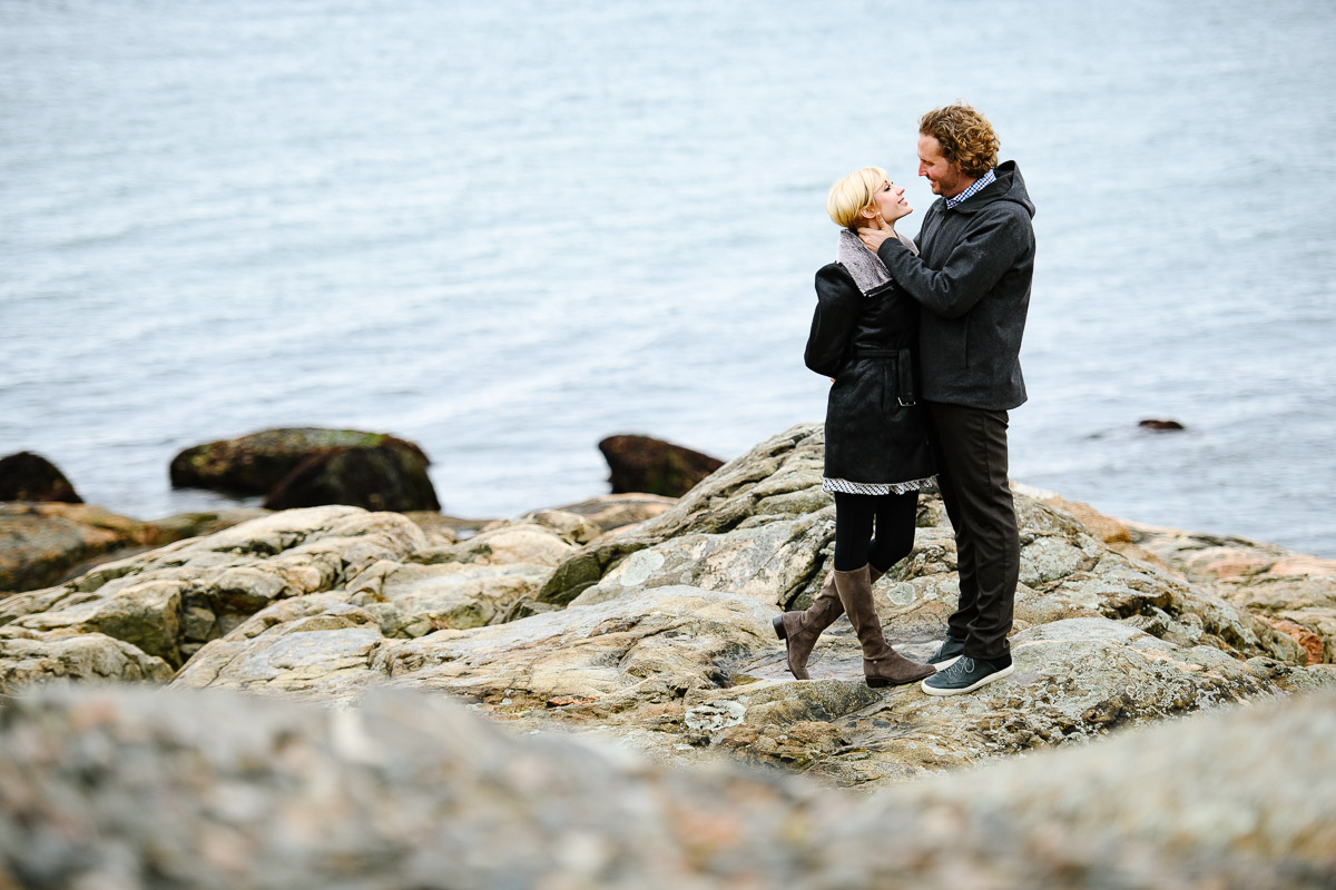 Winter engagement session in Marblehead Massachusetts