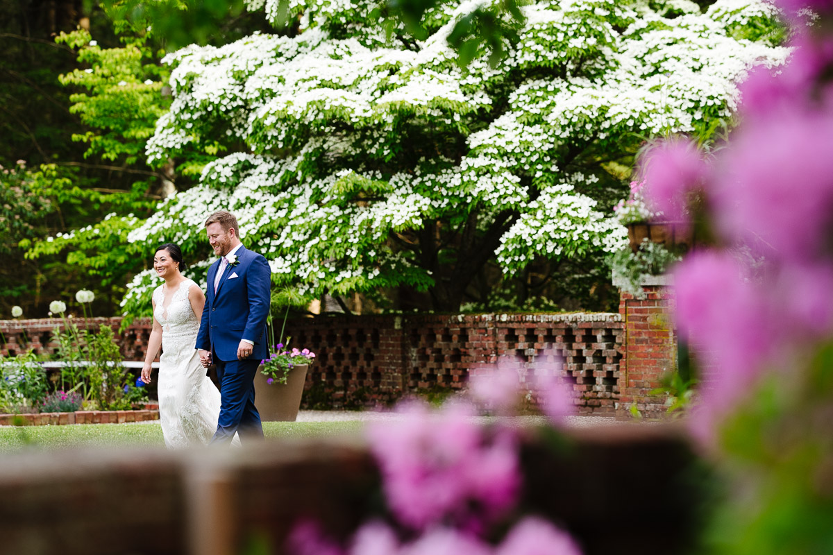 Bride and Groom in the garden of the Bradley Estate