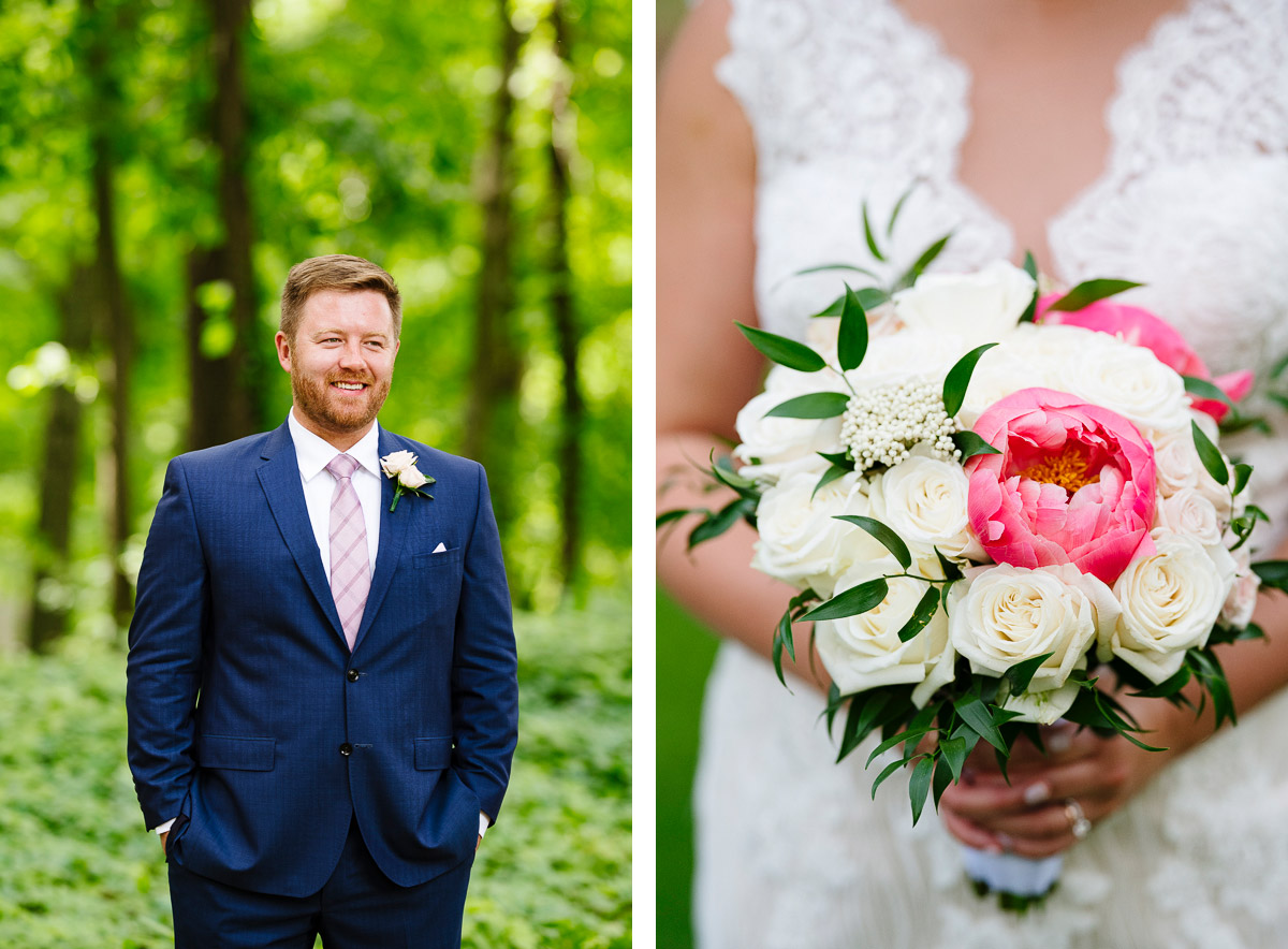Bridal bouquet and portrait of a Groom