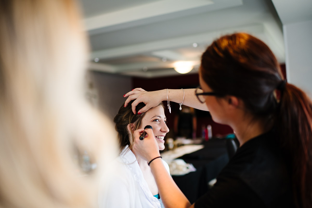 Bride gets ready at the Westin Copley Boston